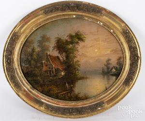 Reverse painted oval landscape