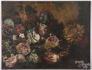 Old Master oil on canvas floral still life