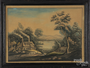 Watercolor country landscape