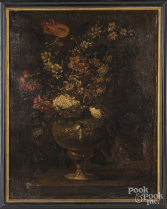 Continental oil on canvas floral still life