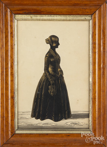 Watercolor and gouache silhouette of a woman