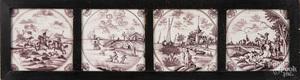 Four framed Dutch Delft tiles
