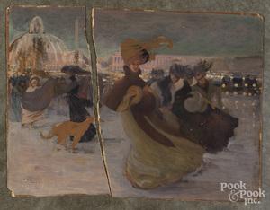 Mixed media on board of women in a courtyard