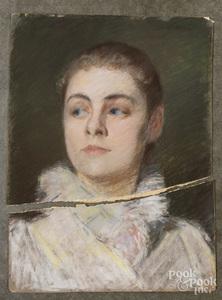 Joseph Henry Boston, pastel portrait of a woman