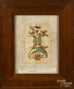 Watercolor and cutwork fraktur bookplate