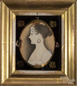 Miniature watercolor and pencil portrait