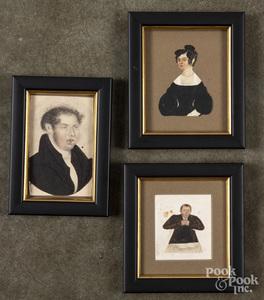 Three miniature watercolor and cutout portraits
