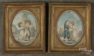 Pair of color lithographs of a boy and girl