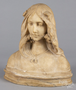Carved marble bust of a woman