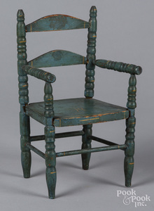 Blue painted doll chair