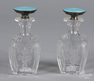 Pair of etched glass perfumes