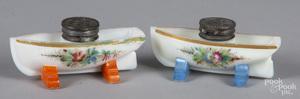 Pair of milk glass ship form inkwells