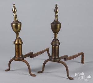 Pair of brass urn top andirons