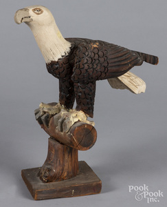 Folk art carved and painted eagle