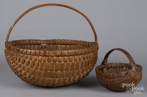 Two split oak melon baskets