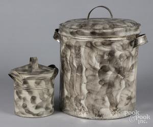 Two smoke decorated tin pails