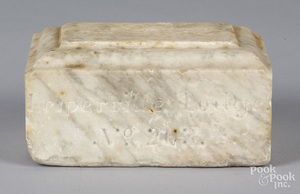 Oddfellows carved marble doorstop