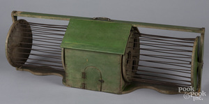 Green painted squirrel cage