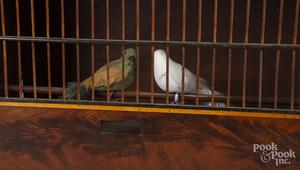 Rare English mahogany bird breeding cage