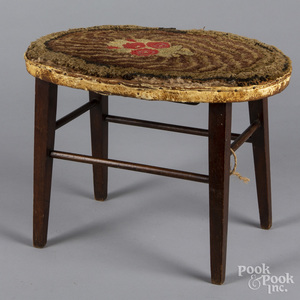 Mahogany foot stool with hooked rug cover