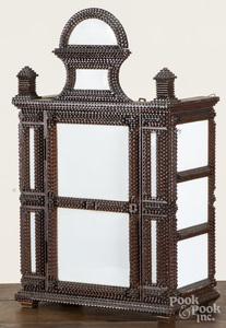 Tramp art hanging cabinet