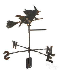 Sheet iron witch weathervane