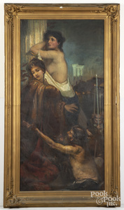 Large Continental oil on canvas allegorical scene