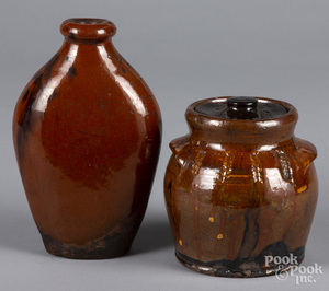 Redware covered jar and flask