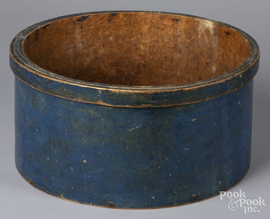 Large blue painted bentwood box