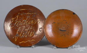 Two redware chargers