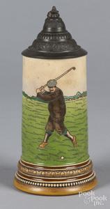 German golf theme stein