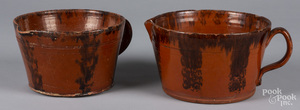 Two redware batter bowls