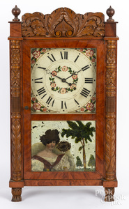 Painted and carved mahogany mantel clock