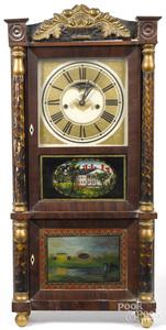 C & N Jerome Empire mahogany mantel clock