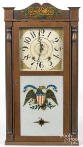 Empire mahogany and pine mantel clock