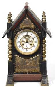 French brass, slate and marble mantel clock