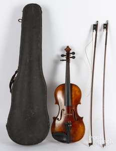 Karl Hofner maple violin, with case and two bows