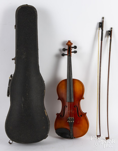Ton-Klar maple violin, with case and two bows.