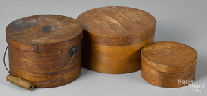 Three bentwood pantry boxes