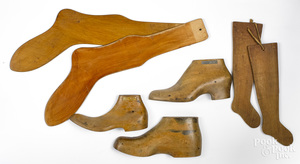 Two pairs of wooden sock stretchers