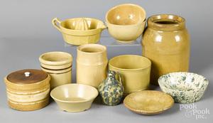 Eleven pieces of yellowware