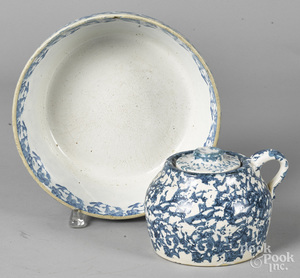 Two pieces of blue and white spongeware
