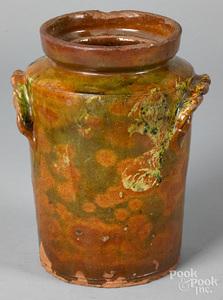 Unusual American redware jar