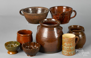 Seven pieces of American redware