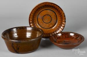 Three American redware bowls