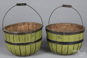 Pair of painted apple baskets