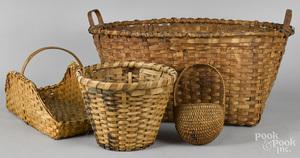 Four splint baskets, 19th c.
