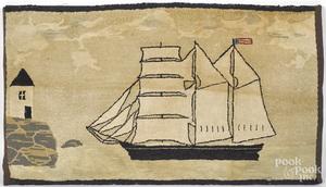 Nautical hooked rug of a sail ship