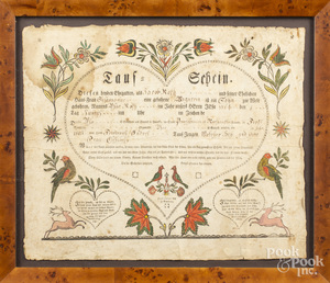Printed and hand colored fraktur taufschein