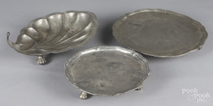 Two Continental pewter salvers